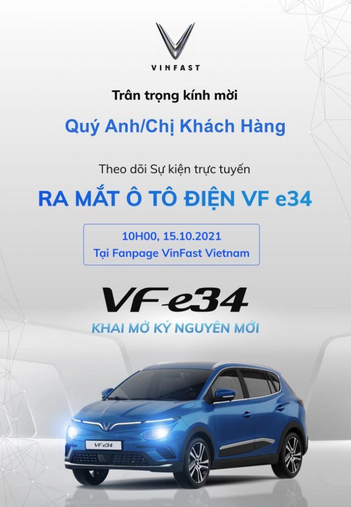 Thư mời khách hàng theo dõi sự kiện trực tuyến ra mắt ô tô điện vinfast vf e34